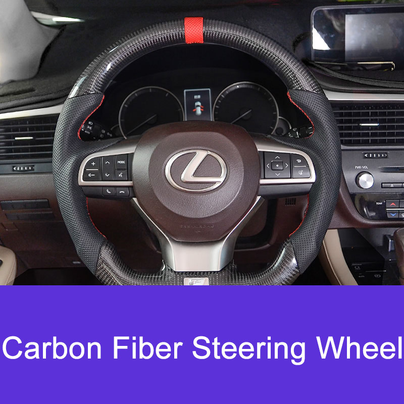 QHCP 1Pcs Car Steering Wheel Seat Carbon Fiber Leather Sport Pattern Style With Red Line Stitching For LEXUSNX/RX/ES/IS/CT 2013+