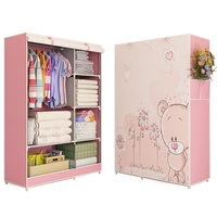 3D Painting Wardrobe Non Woven Fabric Steel Frame Reinforcement Standing Storage Organizer Detachable Clothing Bedroom Storage