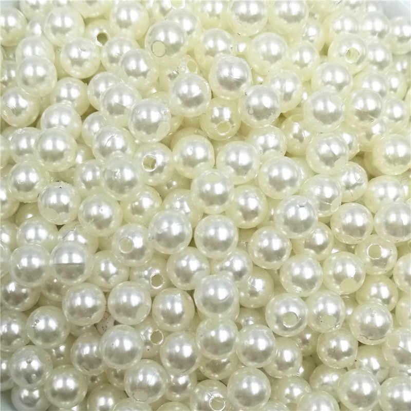 500pcs/lot Round ABS Cheap Shape Straight Hole Imitation Pearls Beige Beads Handmade DIY Bracelet Jewelry Accessories Making