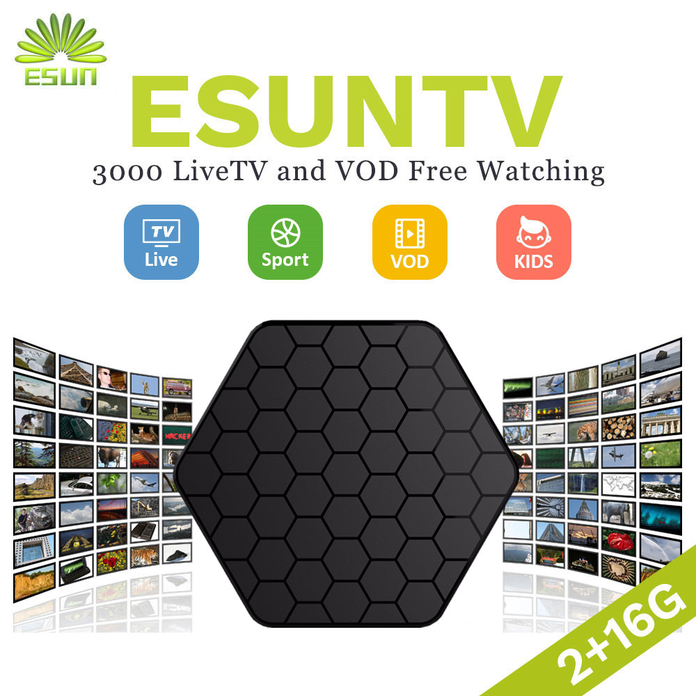 1 année IPTV Inclus T95Z Plus ESUNTV Amlogic S912 Octa core ARM Cortex-A53 2/16g USA ESPAGNE ITALIE gernamy IPTV L'albanie EX-YU