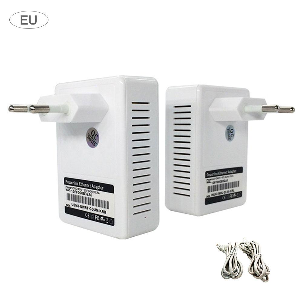 Power Line Ethernet Adapters Kit 500M Home Plug Bridge Mini High-Speed Power Line Network Adapters Supports IPTV US UK EU