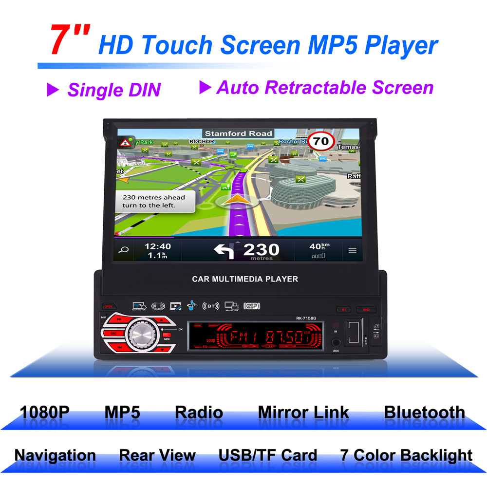 Autoradio 7 pouces Navigation GPS entièrement automatique voiture télescopique MP5 MP4 lecteur MP3 coloré lumières Machine affichage