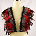 Black Indian inspired Tribal Feather Plunge Bra,Halloween Satanic Dress,Feather Bralette,Bondage Caged Goth Funny Witchy Costume