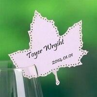 Maple Leaf Place Cards Wine Glass Card Party Decoration Favors 12pcs