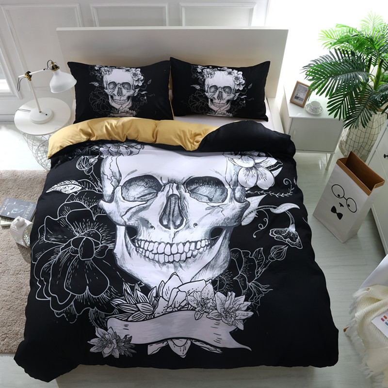Fanaijia 3d Blumen Schädel Bettwäsche Sets Plaid Bettbezüge Für