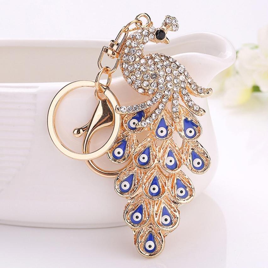 Starry-Styling Fashion Peacock Rhinestone Keychain Car Pendant Key Chain women bag Key Ring llaveros Delicate New Arrival