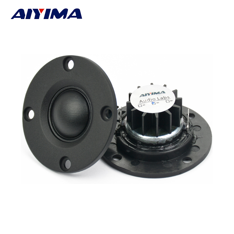 "Aiyima 2 pcs Tweeter 1 ""inch 6Ohm 30 W Dome Silk Film Tweeter Hifi Treble Speaker Audio Loudspeaker Dengan Heatsink"