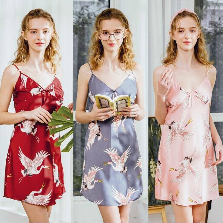 Silk Lace Women Sleepwear Ladies Sexy Lingerie Sleepdress Babydoll Nightdress   Nightgown     Sleepshirts   Homewear 4 Sizes