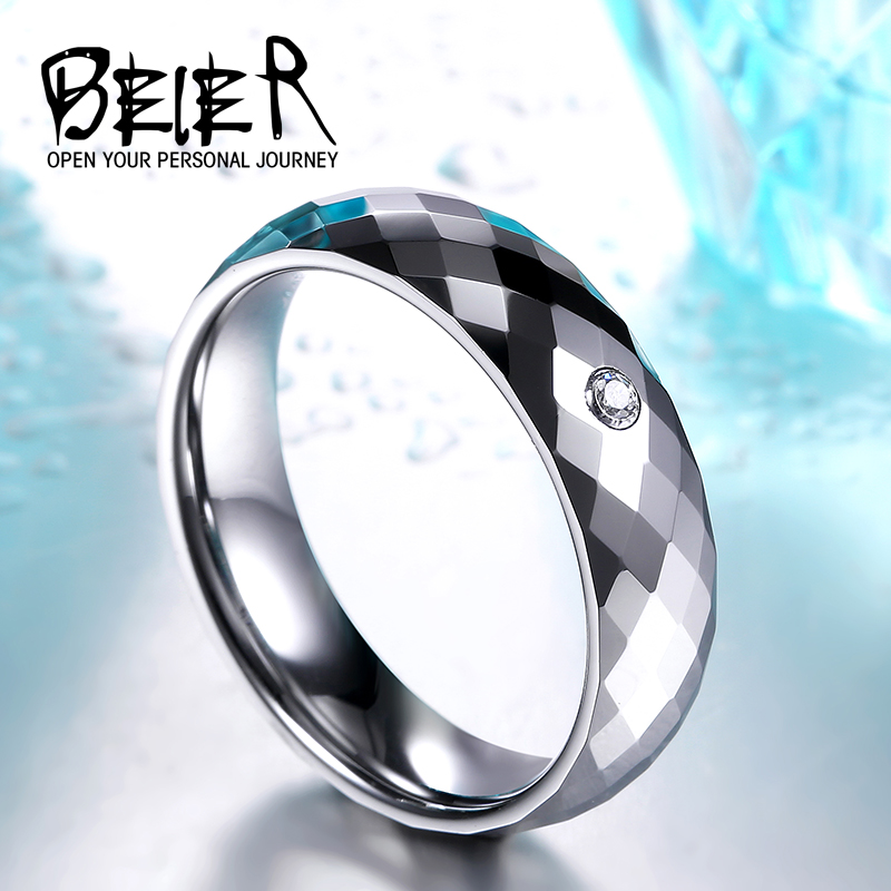 BEIER Cool Mans Tungsten Ring with white stone Fashion High Polished Wedding Jewerly BR-W045