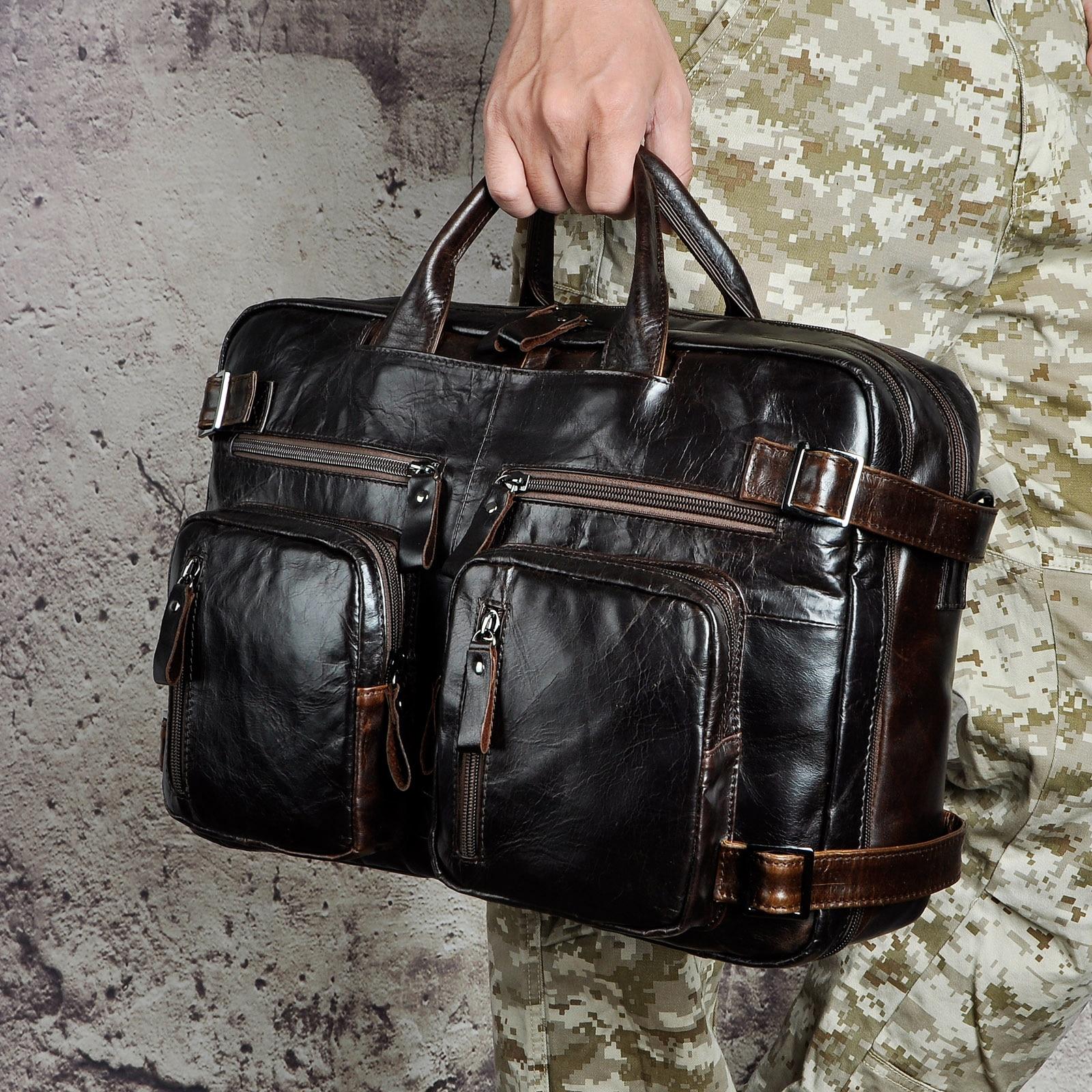 Genuine Real Leather Fashion Business Briefcase Messenger Bag Male Design Travel Laptop Document Case Tote Portfolio Bag k1013c