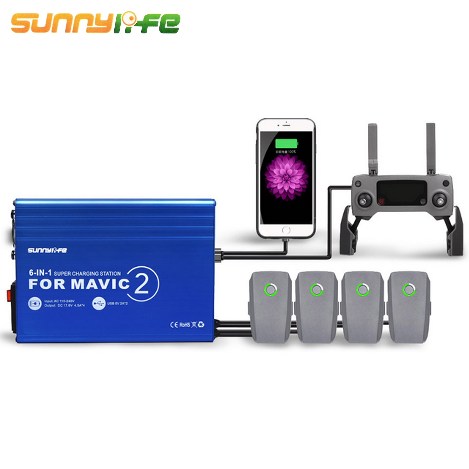 SUNNYLIFE 6 in 1 Portable Charger Charging with 2 USB Ports for DJI Mavic 2 Pro