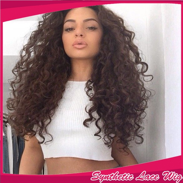 Hot selling Fast shipping heat resistant kinky curl wig kinky curly synthetic lace front wig long fluffy wigs for black women