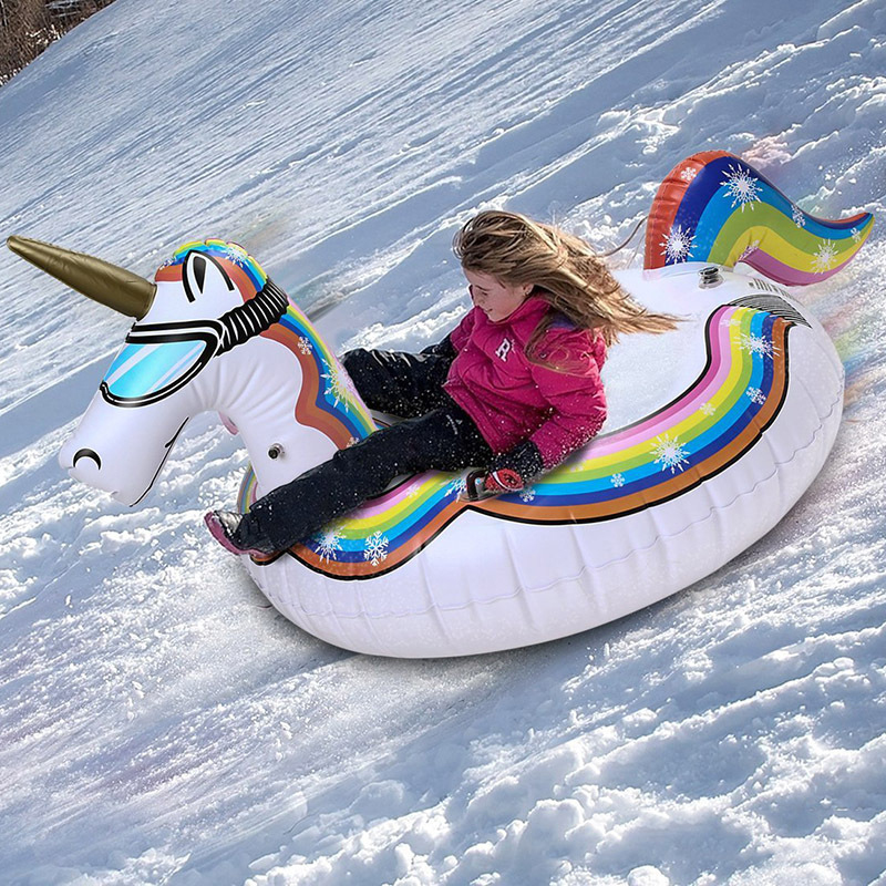 Winter Inflatable Ski Unicorn Ring Snow Toys for Adults Inflatable Flamingo Pool Float Ski and Swim Dual Purpose Inflatable Ring
