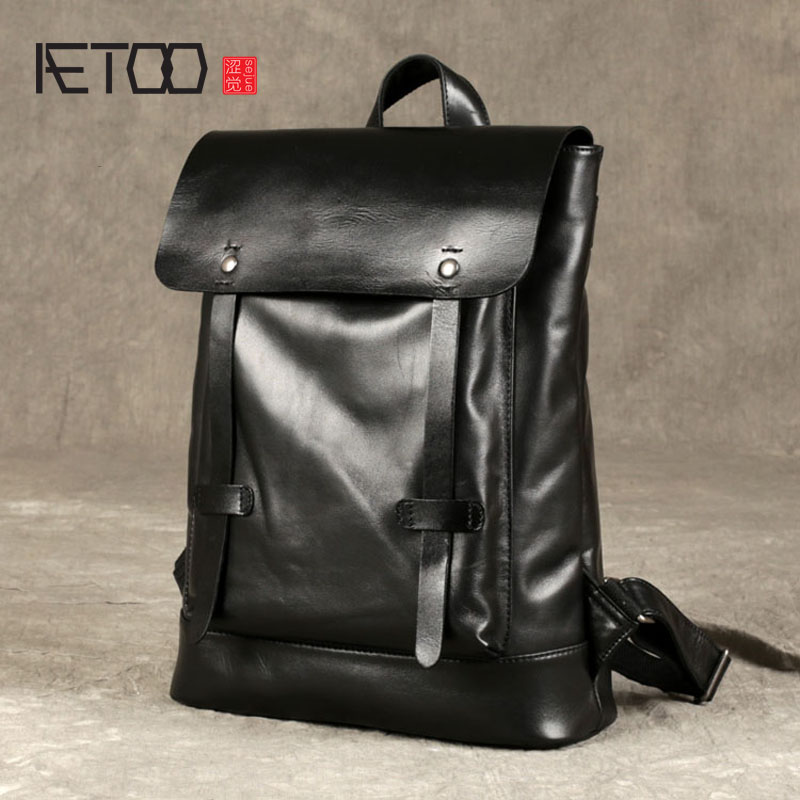 AETOO New leather shoulder bag men backpack head layer of leather Japan and South Korea simple college wind leisure trend of com