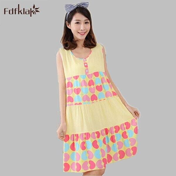 Lovely   Nightgown   Cotton Summer Nightshirts Women Cartoon Print   Nightgowns   Plus Size Women's Sleepwear Night Dress   Sleepshirts