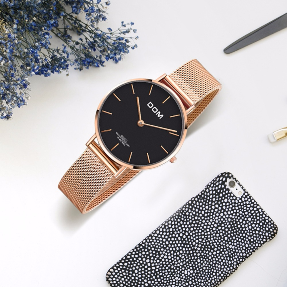 Image 2 - DOM Top Brand Luxury Women Watches Waterproof Business Rose Gold Stainless Steel Ladies Quartz Wrist Watch Reloj Mujer G 36G 1M1Womens Watches   -