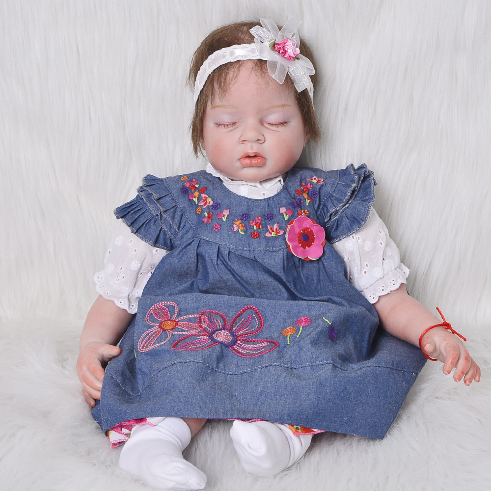 22 Inch Doll Toy Wear Denim Dress Soft Silicone Reborn Babies 55 cm Lifelike Asleep Baby Dolls For Sale Girl Birthday Xmas Gifts hot sale 2016 npk 22 inch reborn baby doll lovely soft silicone newborn girl dolls as birthday christmas gifts free pacifier