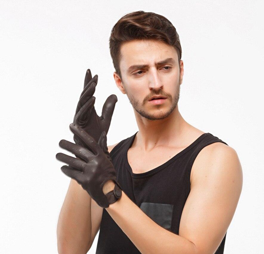 Luxury Deerskin Leather Men Gloves Full Finger Anti Slip Sports Driving Motorbike Spring Summer Black 100% Genuine Gloves XL