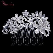 Silver Plated Beautiful Alloy Rhinestone Flowers Clear Crystal Hair Combs Clip Women Wedding Accessories Bridal Hairpin RE222