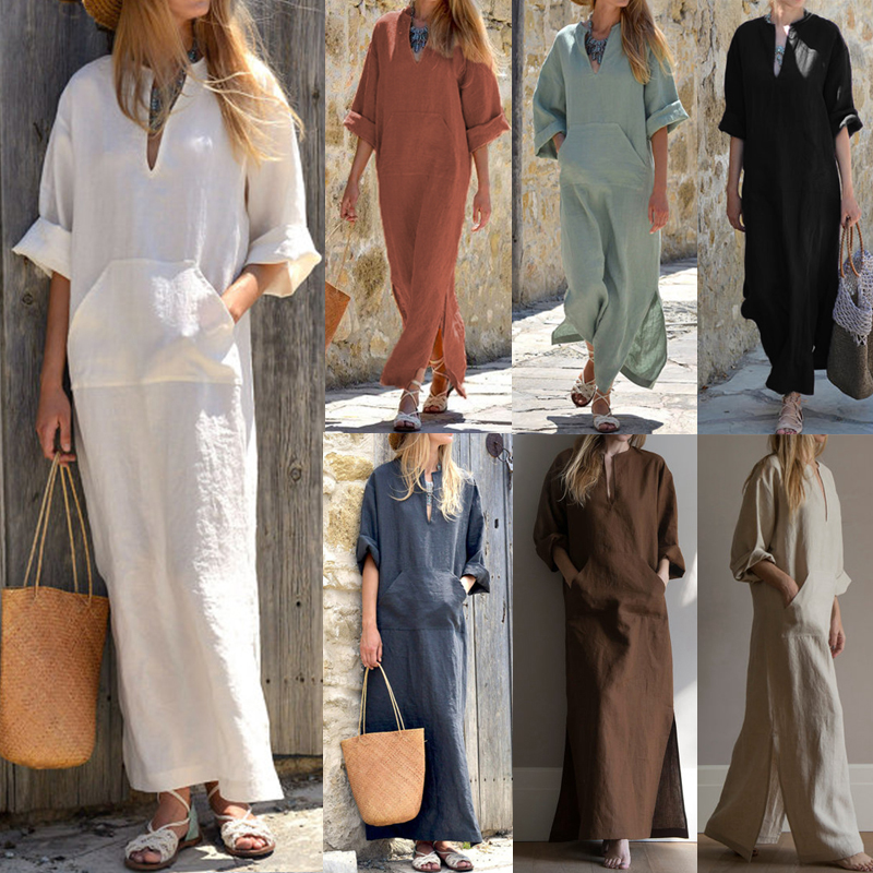 Celmia Women Retro Linen Dress Autumn Sexy Deep V Neck Long Sleeve Split Solid Loose Kaftan Casual Party Maxi Vestidos Plus Size