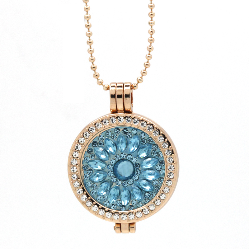 new fashion rose gold plating jewelry coin holder blue