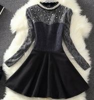 Lace One Piece Dress Women S Beading Dress Long Sleeve Basic Dress Slim Lace Mini Dress