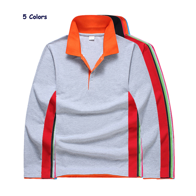 Fashion 2018 Mens Long Sleeve Solid Color Polos Shirts Casual Cotton Lapel Clothing Tops Free Shipping