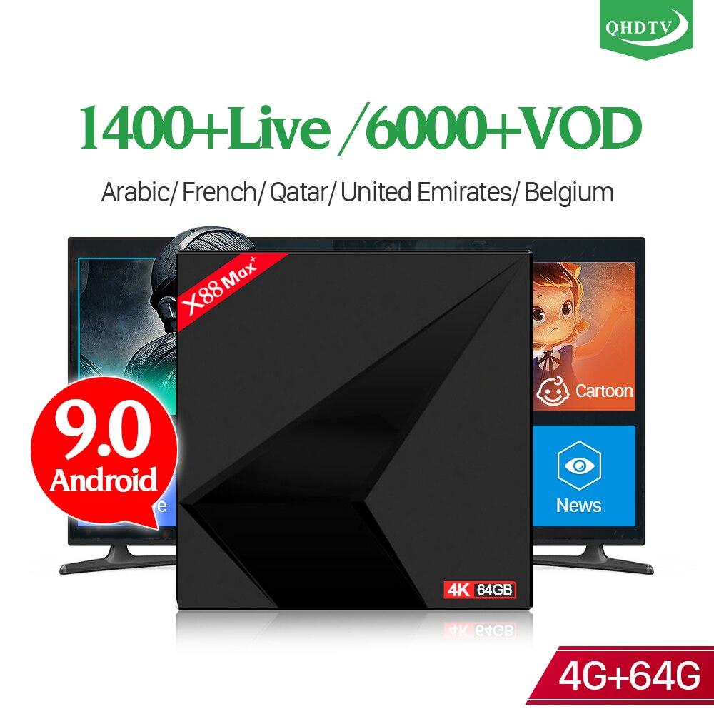 Android 9.0 IPTV 1 an QHDTV abonnement X88 MAX + 4 + 64G BT double bande WIFI USB3.0 IPTV France arabe belgique pays-bas 4 K BoxAndroid 9.0 IPTV 1 an QHDTV abonnement X88 MAX + 4 + 64G BT double bande WIFI USB3.0 IPTV France arabe belgique pays-bas 4 K Box