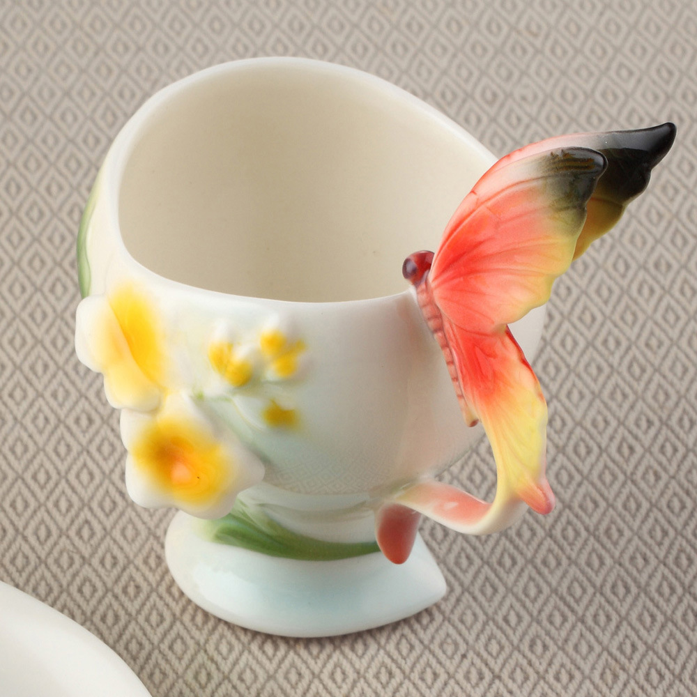 Bone China Ceramic Enamel Coffee Cup European Creative Erfly And Flower Mug Cups For Wedding Gift In Mugs From Home Garden On Aliexpress