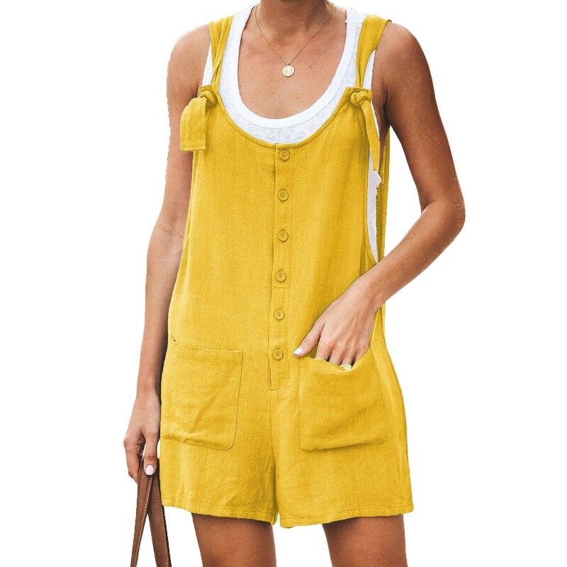Casual Cotton Linen Loose Short Jumpsuit 2019 Summer Beach Women Bib Pants Playsuit Romper Women Streetwear One Piece Jumpsuits