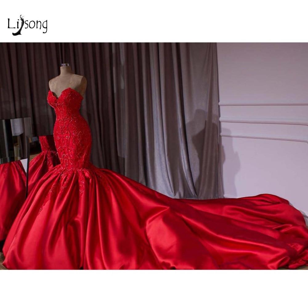 Luxury Dubai Red Beaded Mermaid Wedding Dresses 2018 Lace Crystal Trumpet Bridal Gowns Royal Train Sweetheart