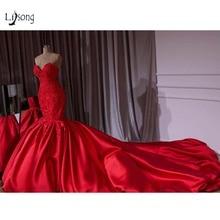 Роскошные Красные Свадебные платья русалки из Дубая с бусинами 2018 кружевные Кристальные Свадебные платья Королевского поезда милое платье De Mariee