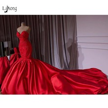 Luxury Dubai Red Beaded Mermaid Wedding Dresses 2018  Lace Crystal Trumpet Bridal Gowns Royal Train Sweetheart Robe De Mariee