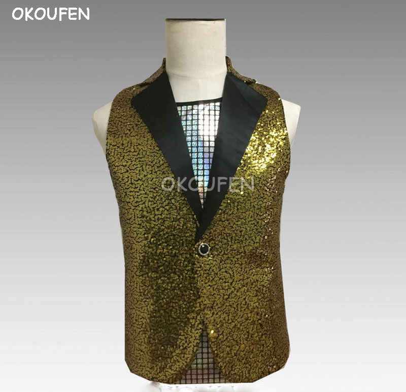 New Fashion Slim scale gold sequins vest Bar singer nightclubs hosted stage performances show wear dj singer dance accessories
