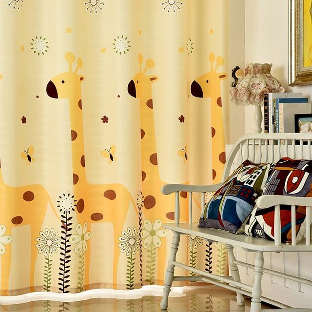 leuke kinderen cartoon giraffe bloem gele gordijnen linnen polyester jongens meisjes slaapkamer studie dikke window shade