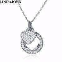 LINDAJOUX Fashion Zircon 925 Sterling Silver Necklace Circle Heart Pendant Necklaces Women Charm Chain Jewelry Romantic