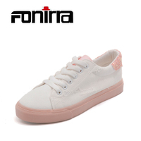 FONIRRA Women Bling Canvas Shoes White Pink Casual Lace Up Shoes for Ladies Preppy Shoes for Students Canvas Flats Shoes 040