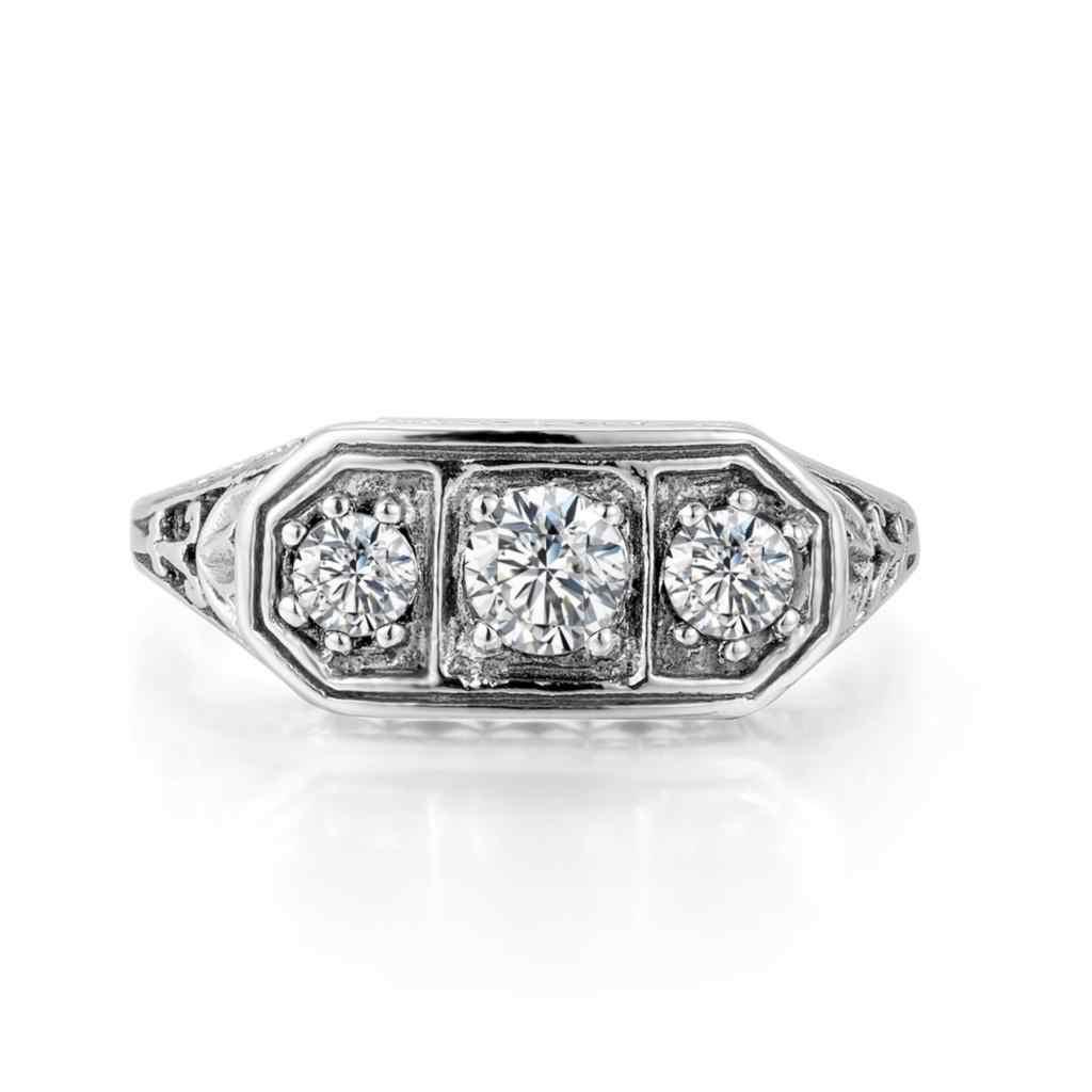 Anillo de plata Szjinao 925 zirconia 3 piedras preciosas bisutería 925 macizo para mujer anillo de boda para mujer joyería fina para mujer