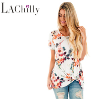 2017 Summer New Fashion Plus Size Women Clothing Chinese Retro Style White Floral Short Sleeve Knot Top LC250061 Women Shirts