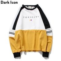 DARK ICON Drop Shoulder Color Block Round Neck Men's Sweatshirt 2018 Autumn Terry Material Hip Hop Sweatshirt 3 Colors