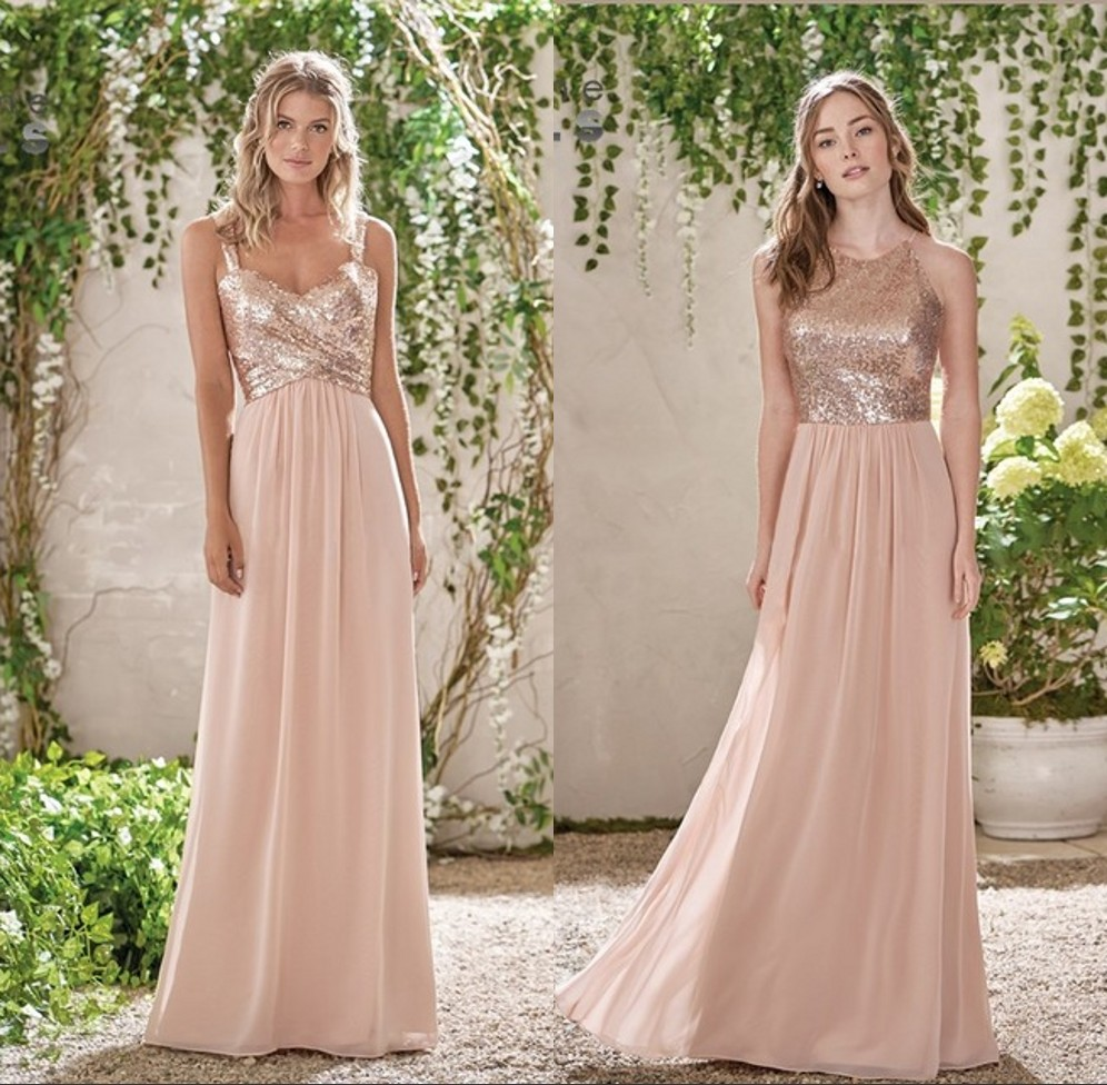 Elegant Rose Gold A Line Chiffon Bridesmaid Dresses Long 2019 Spaghetti Straps Sequin Top Maid Of Honor Gowns Prom Party Gowns