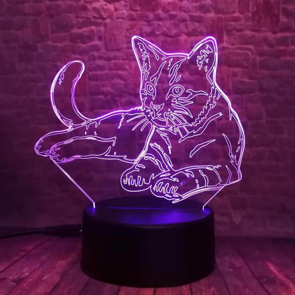 귀여운 3d 아늑한 누워 레저 고양이 led 밤 빛 usb 터치 7 다채로운 빛 어린이 침실 램프 아기 아이 크리스마스 파티 선물