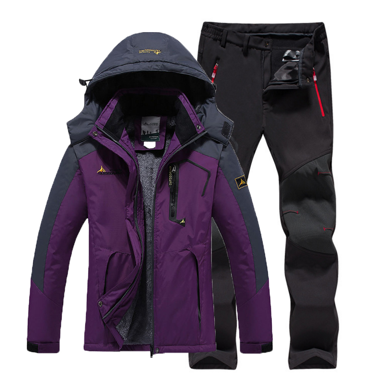 Women Winter Fur Camping Hiking Trekking Skiing Climbing Waterproof Outdoor Jackets Soft Shell Pants Warm Trousers