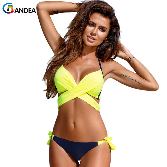 BANDEA bikini brand 2017 new sexy swimwear push up swimsuit cross women halter top biquini brazilian bottom beach wear