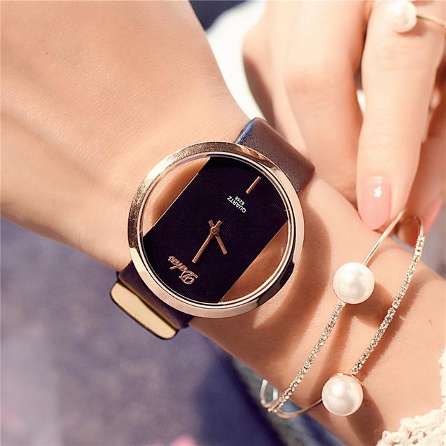 Leather Strap Black Casual Love Heart Time Quartz Wrist Watch