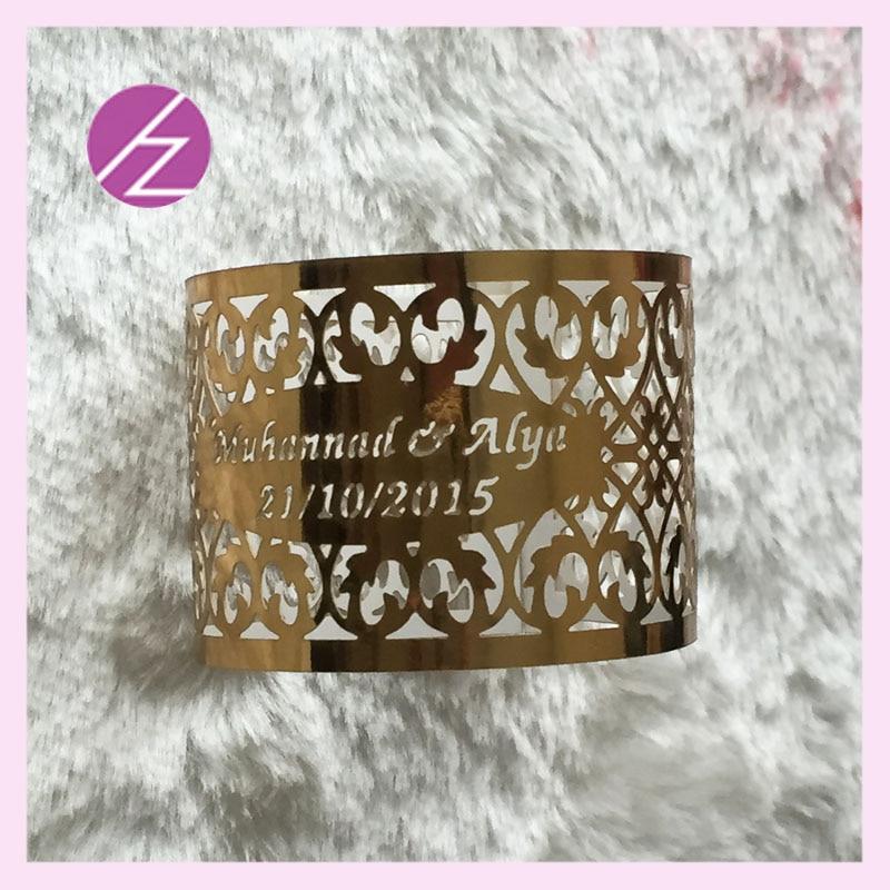 100pcs lot Wholesale cheap free logo free words paper napkin ring for wedding paper crafts metallic