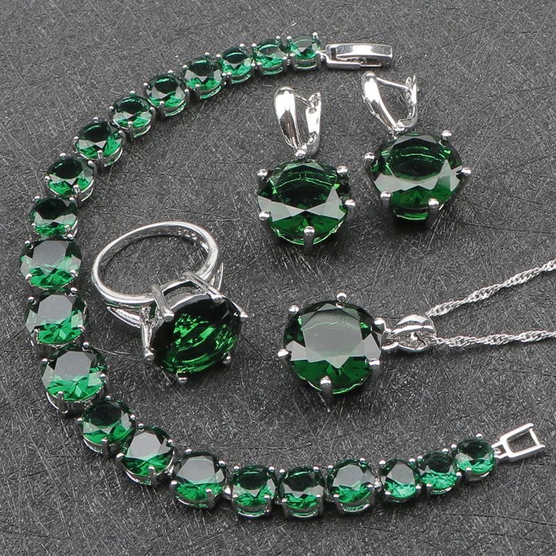 Women Green Zircon Costume Silver 925 Jewelry Sets Earrings With Stones Pendant&Necklace Rings Bracelets Set Jewelery Gift Box green stones white zircon women silver 925 jewelry sets earrings pendant necklace rings bracelets for bridal set free box