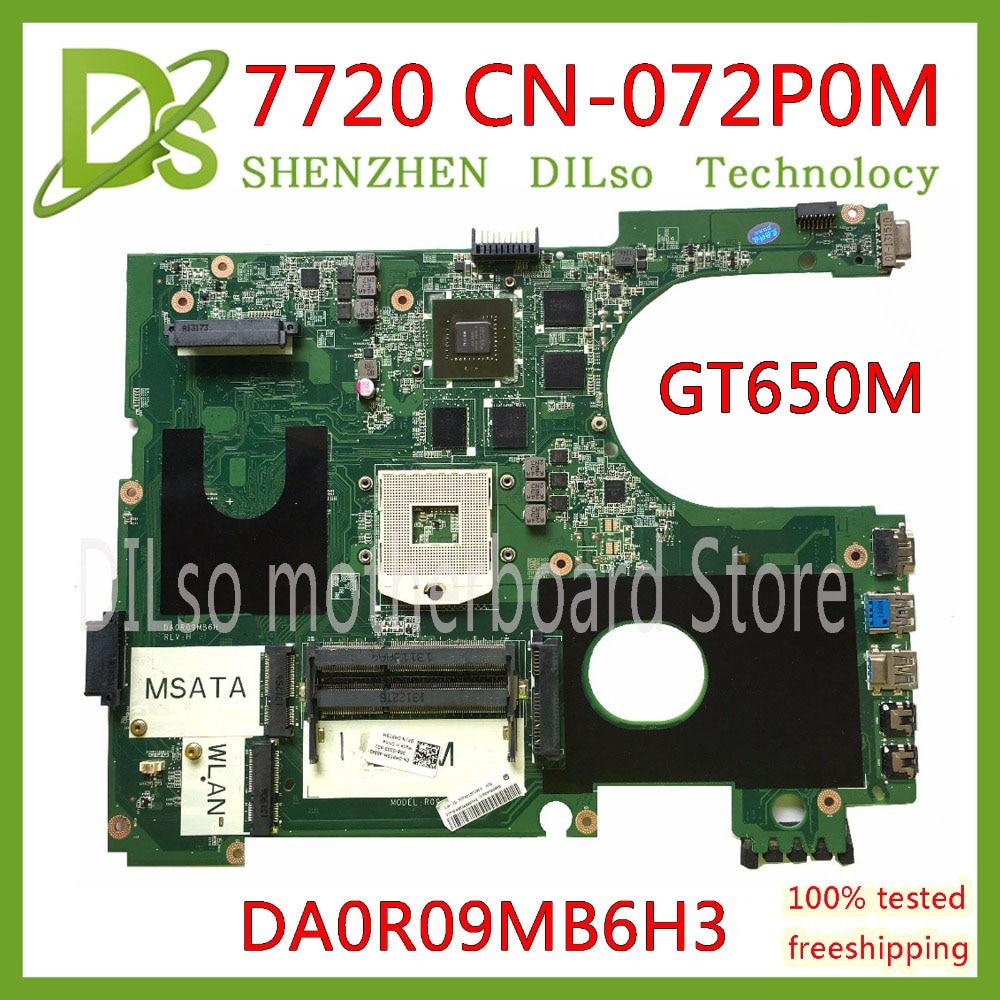 KEFU 17R N7720 Pour DELL 5720 7720 carte mère CN-072P0M 072P0M carte mère DA0R09MB6H1 DA0R09MB6H3 2D GT650M 2 gb travail 100%