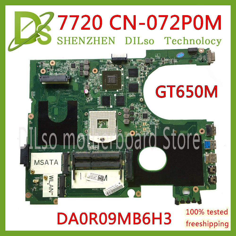 KEFU 17R N7720 For DELL 5720 7720 Motherboard CN-072P0M 072P0M Motherboard DA0R09MB6H1 DA0R09MB6H3 2D GT650M 2GB Work 100%