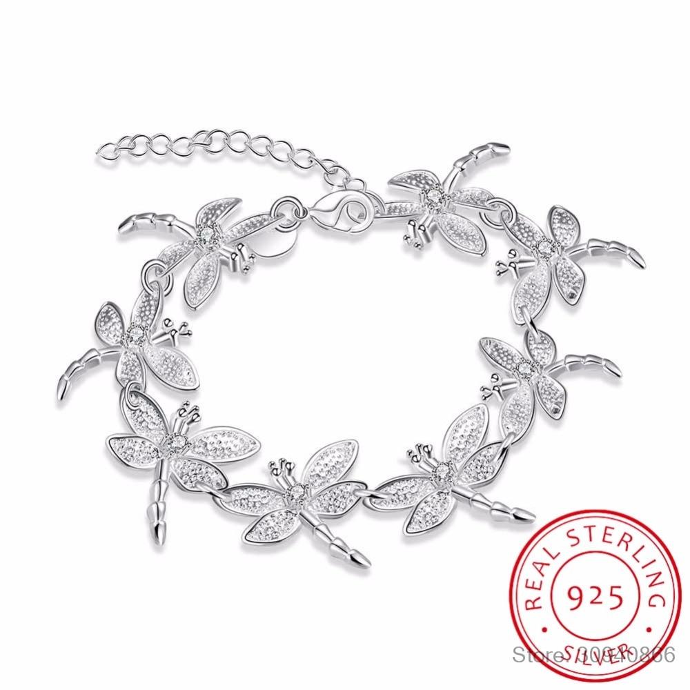 Sweet 925 Sterling Silver Bracelets For Women Dazzling Micro CZ Zirconia Dragonfly Bracelet (18cm+5.5cm) Pulseira